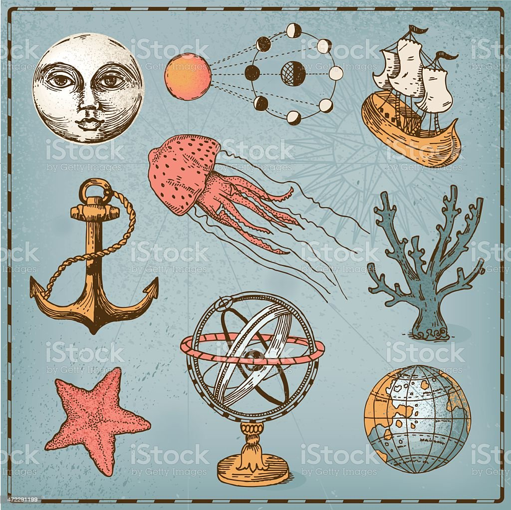 Decorative nautical set vector art illustration