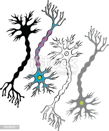 Multipolar neourons - cells of the nervous system. Each decorative neuron on it's own layer.