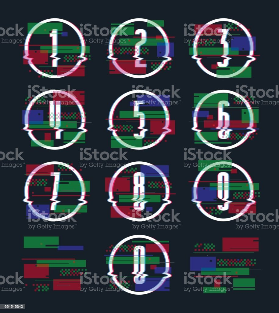 Decorative numbers with glitch distortion effect royalty-free decorative numbers with glitch distortion effect stock vector art & more images of art