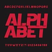 Decorative oblique alphabet vector font.