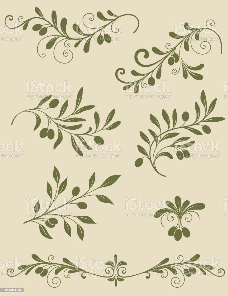 Decorative olive branch vector art illustration