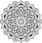 Circular pattern in form of mandala for Henna, Mehndi, tattoo, decoration.
