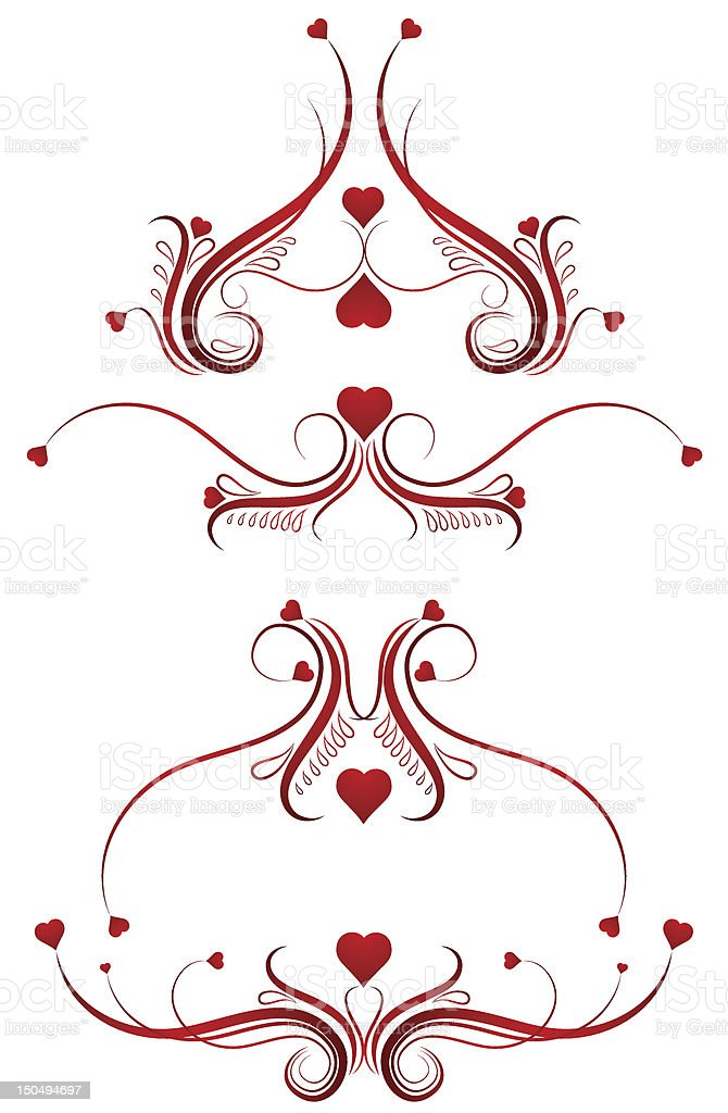 Decorative ornament with hearts royalty-free stock vector art