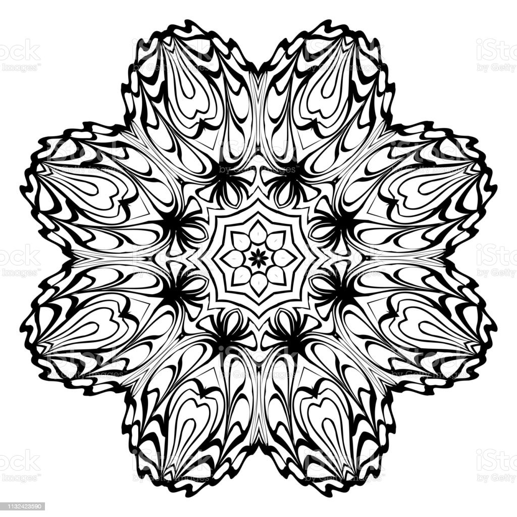 Coloriage Anti Stress Danse.Ornement Decoratif Avec Mandala Fond De Decor A La Maison