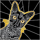 Decorative ornamental black cat, cartoon animal, black and white