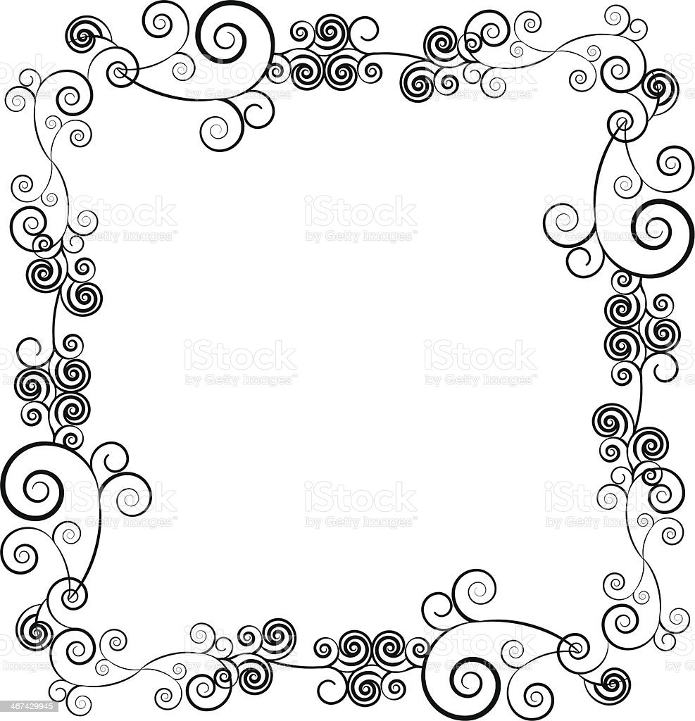 Decorative ornamental frame for text with swirls royalty-free stock vector art