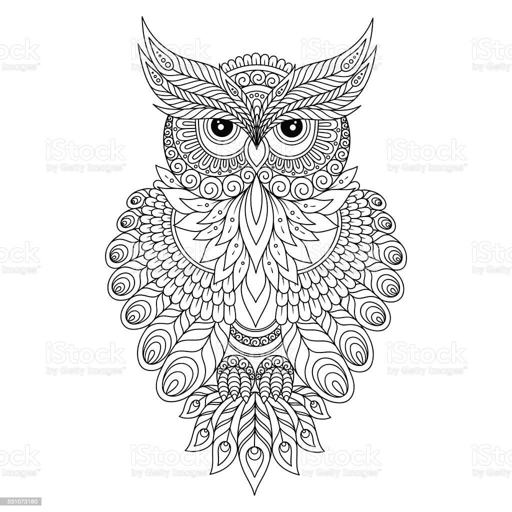 Decorative ornamental Owl. vector art illustration