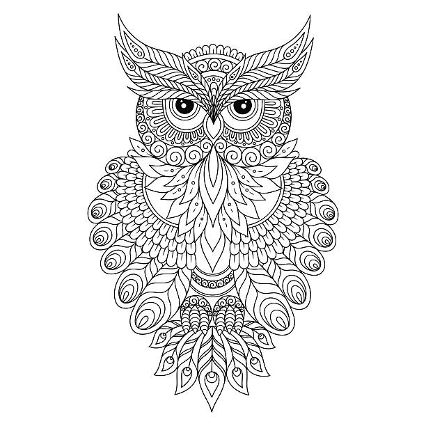 decorative ornamental owl. - black and white owl stock illustrations, clip art, cartoons, & icons
