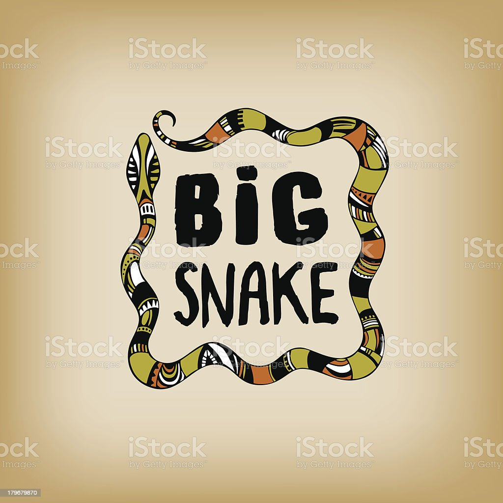 Decorative ornamental snake with text royalty-free stock vector art