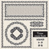 Decorative ornate design elements and brush for illustrator
