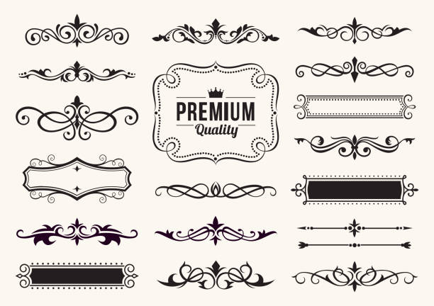 Decorative Ornate Elements and Badges Vector illustration of the decorative ornate elements frame border stock illustrations