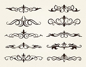 Vector illustration of the decorative ornate elements, dividers and page decorations