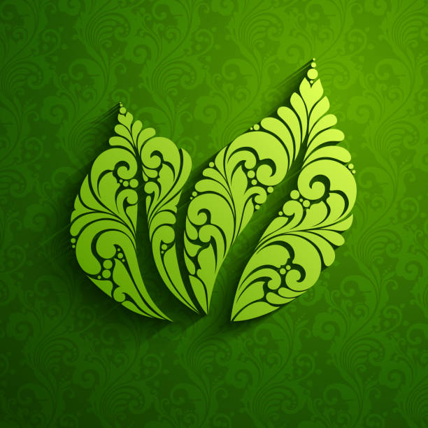 Decorative ornate green leaf icon logo on pattern background. Vector illustration. Eco natural design. Decorative ornate green leaf icon logo on pattern background. Vector illustration. Eco natural design mistery stock illustrations