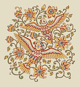 Decorative composition with ornamental birds and flowers. Folk pattern in muted red, green, blue and yellow colors. Vector illustration.