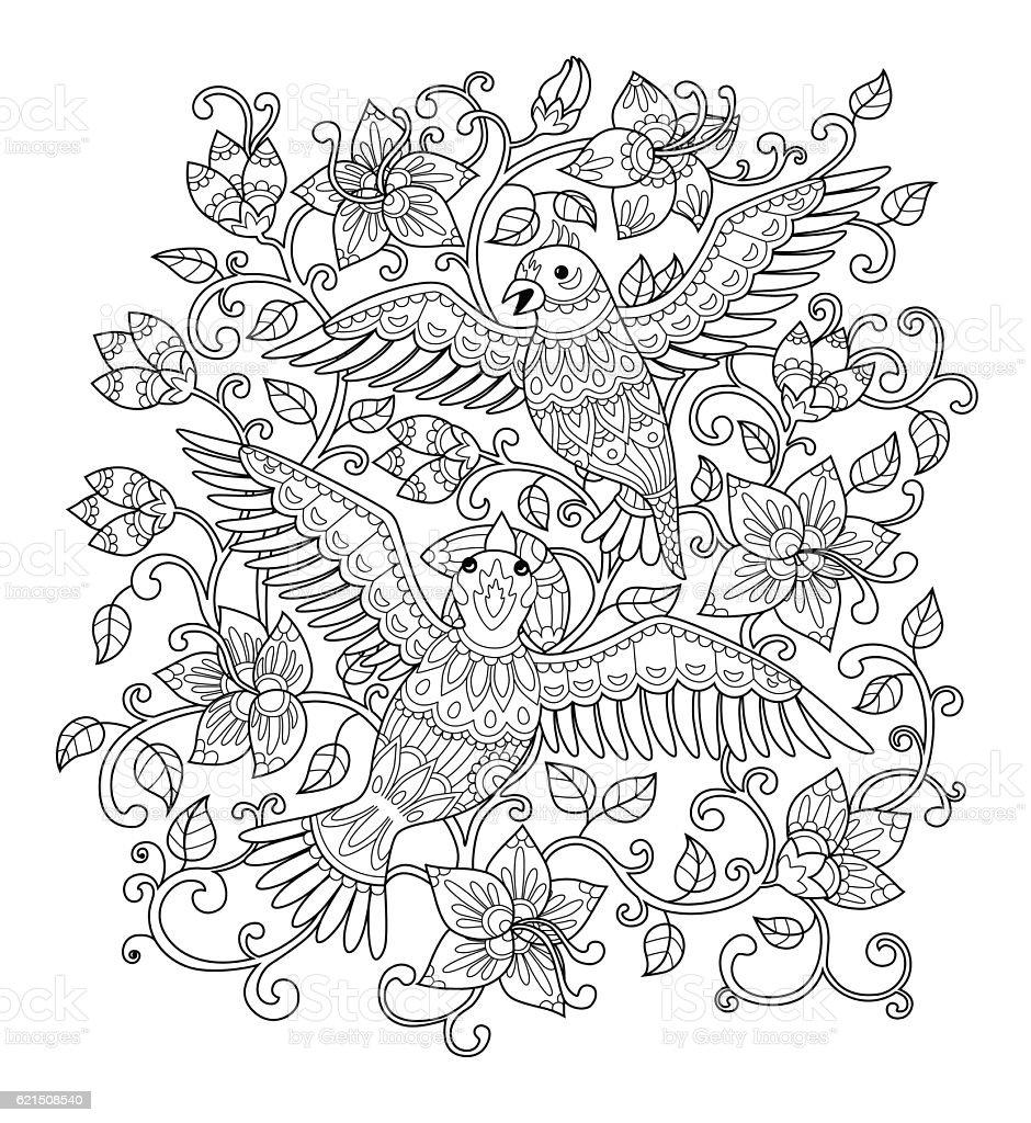 Decorative outline birds in flowers decorative outline birds in flowers – cliparts vectoriels et plus d'images de adulte libre de droits