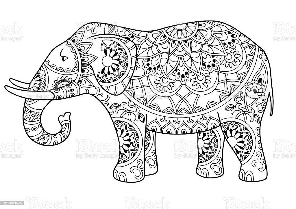 Decorative outline elephant Lizenzfreies decorative outline elephant stock vektor art und mehr bilder von banane