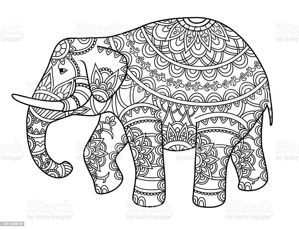 Decorative outline elephant decorative outline elephant – cliparts vectoriels et plus d'images de adulte libre de droits