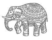 Decorative outline elephant