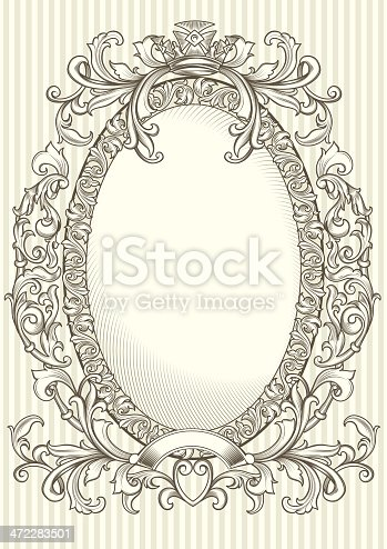 istock Decorative oval frame 472283501