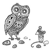 Decorative Owl and  Mouse. Funny cartoon illustration.