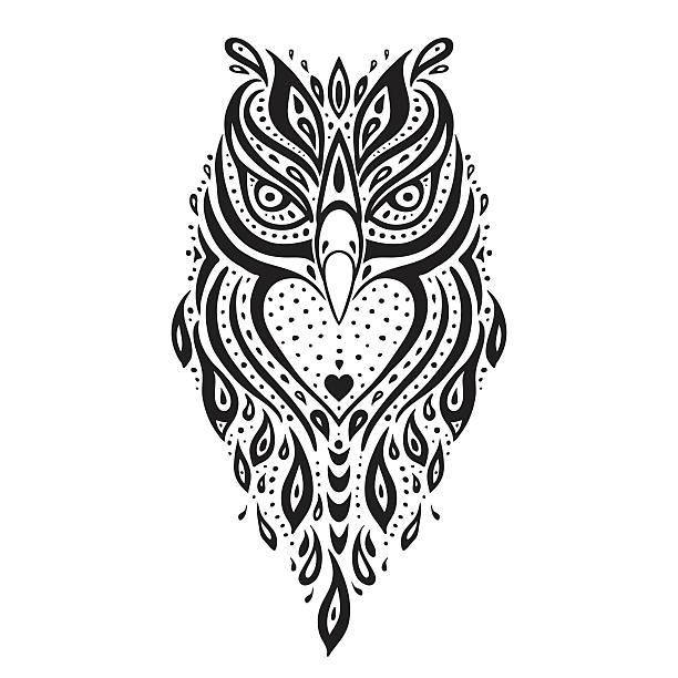 Búho decorativos. Patrón étnico. - ilustración de arte vectorial