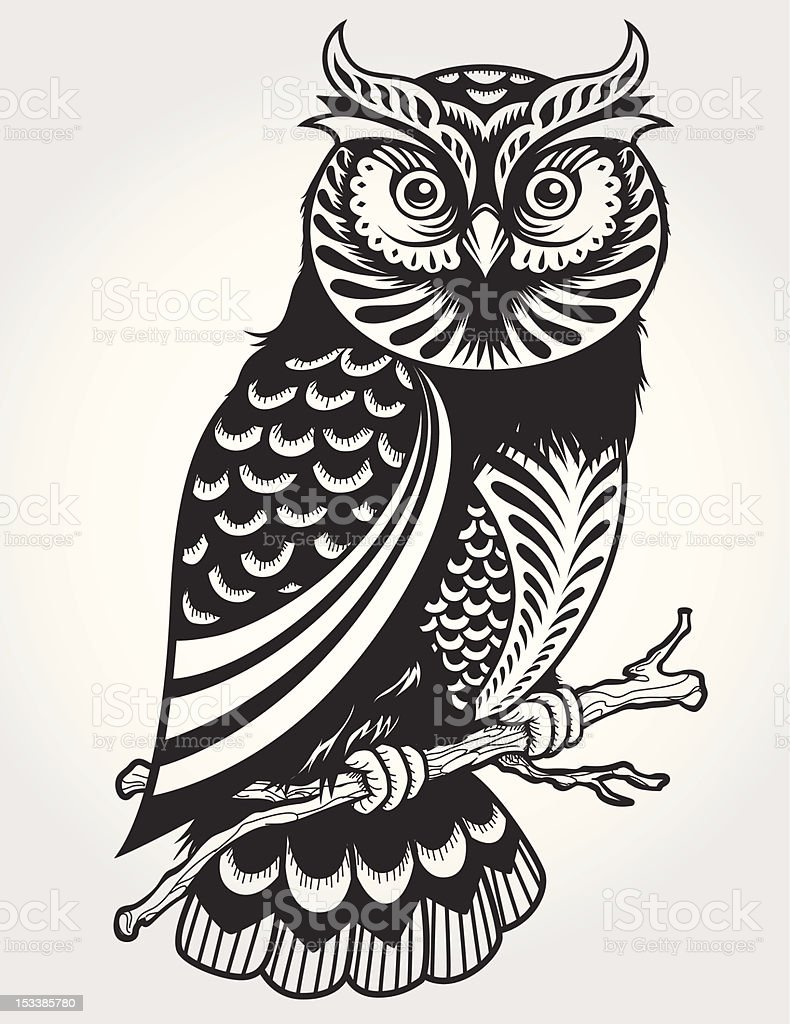 Decorative Owl on branch vector art illustration