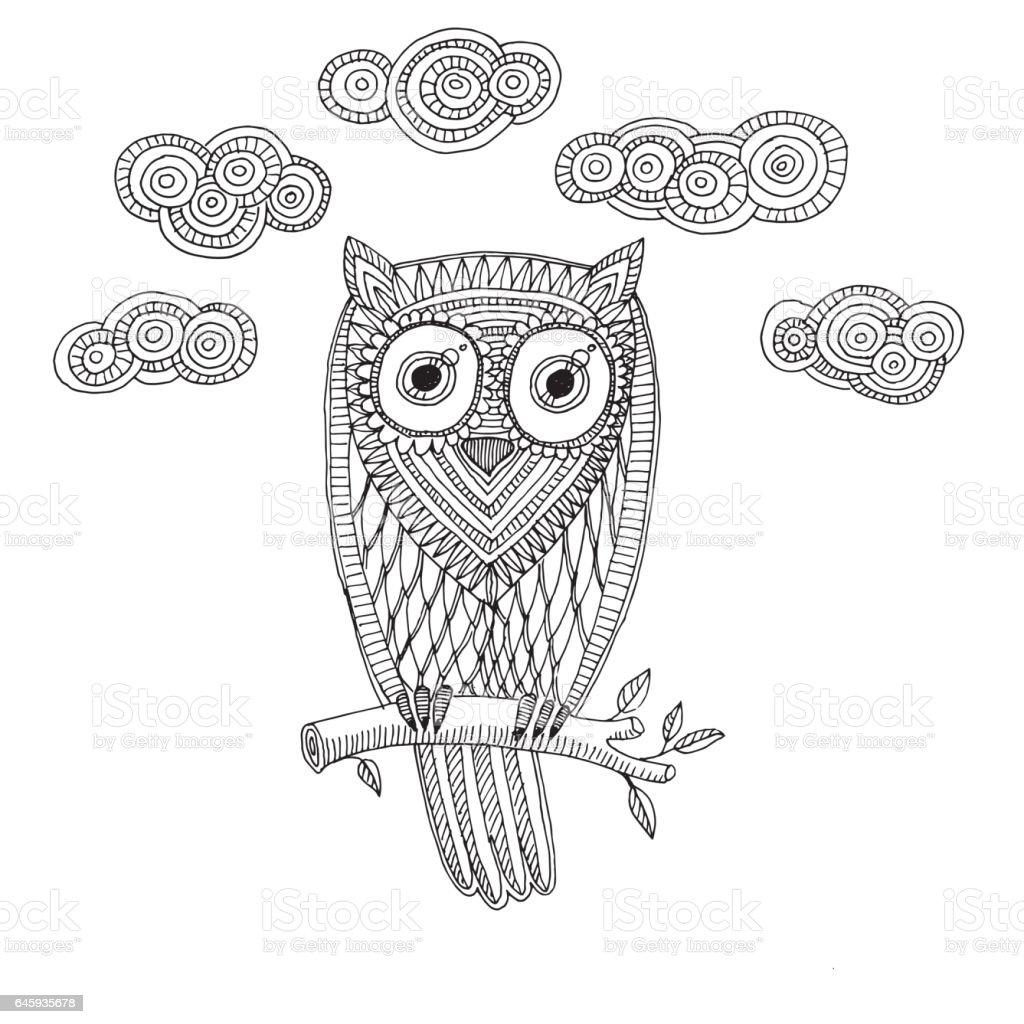 Bulut Ile Dekoratif Baykuş Sayfa Boyama çocuk Siyah Ve Beyaz El