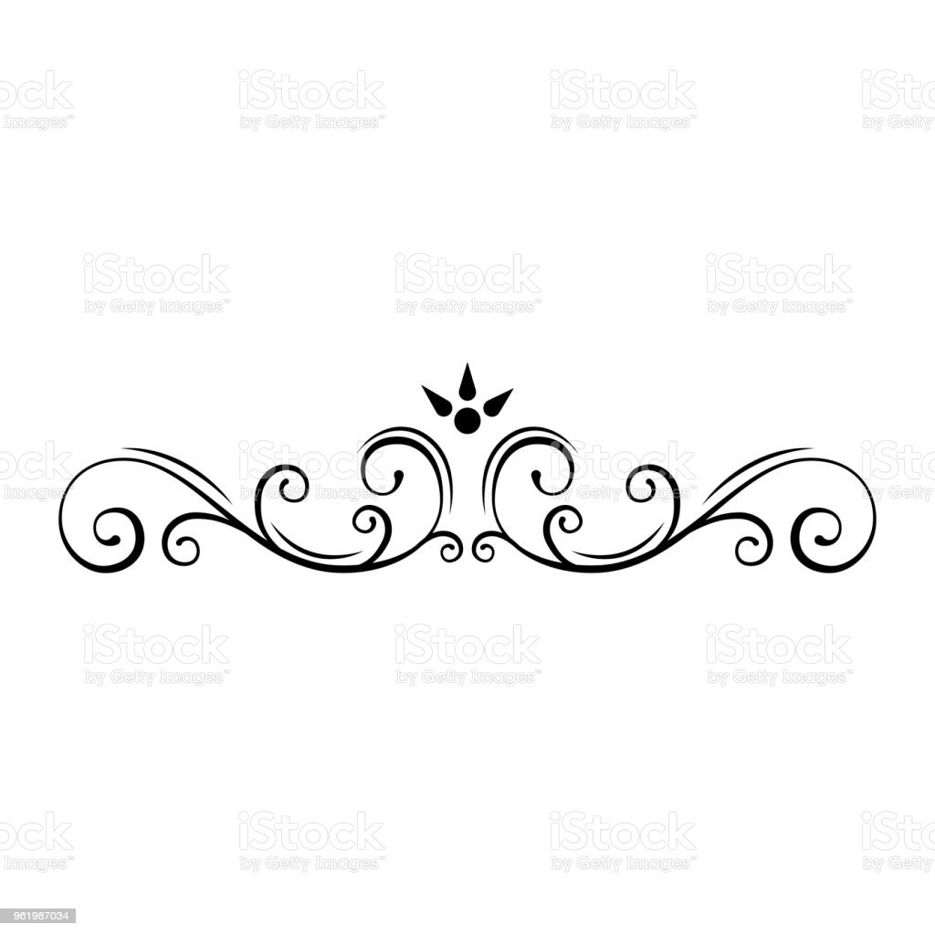 Swirl Borders For Wedding Invitations: Decorative Page Divider Swirls Floral Frame Ornamental