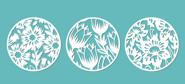 Decorative panels 3 Round panels decorated with floral patterns. A set of decorative elements for cutting paper, laser or plotter. decorative laser cut set stock illustrations