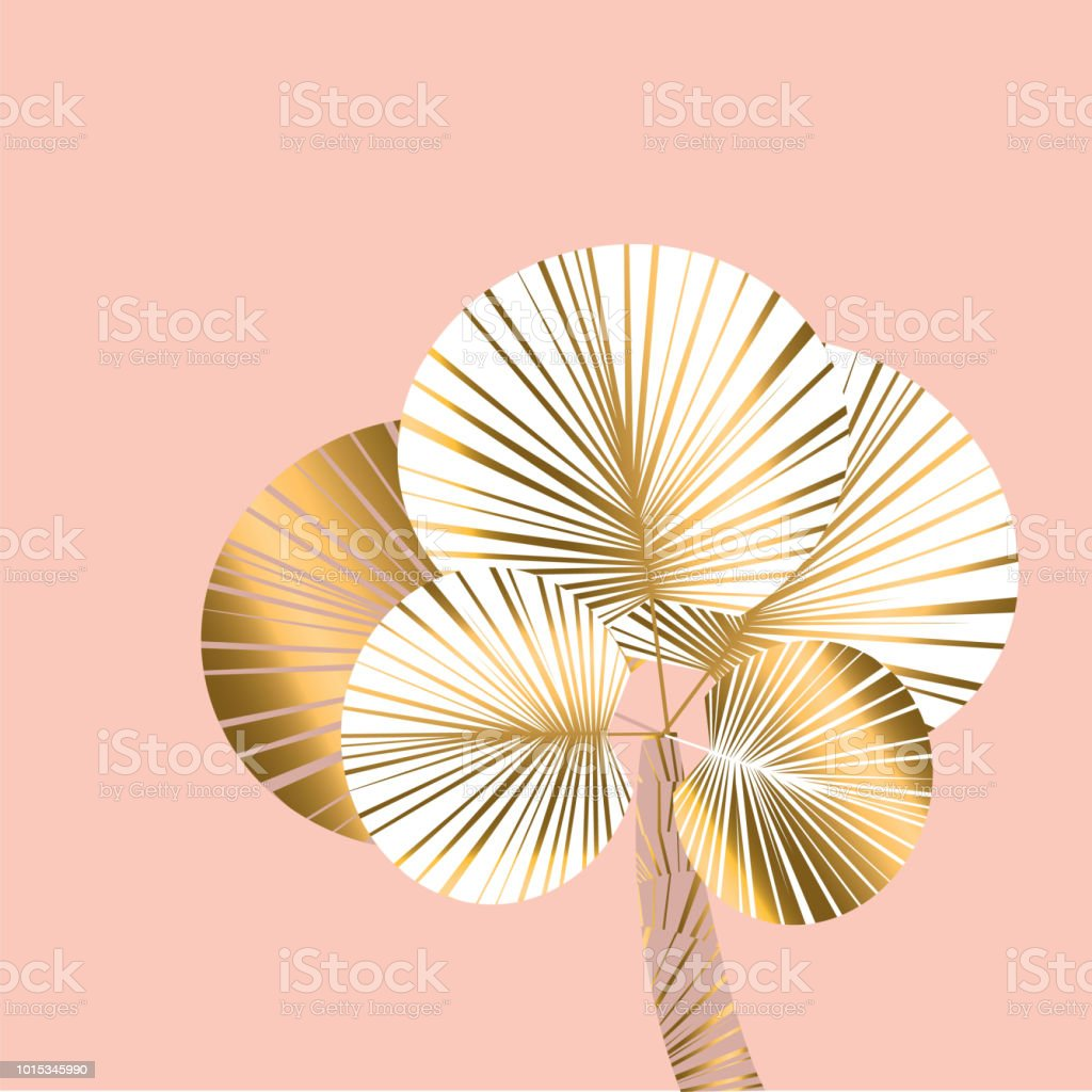 Decorative pastel rosy and gold color tropical palm vector art illustration