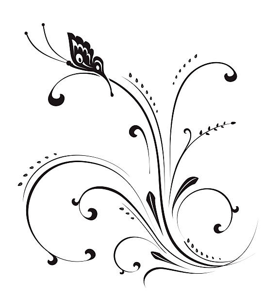 A decorative pattern including a butterfly vector art illustration