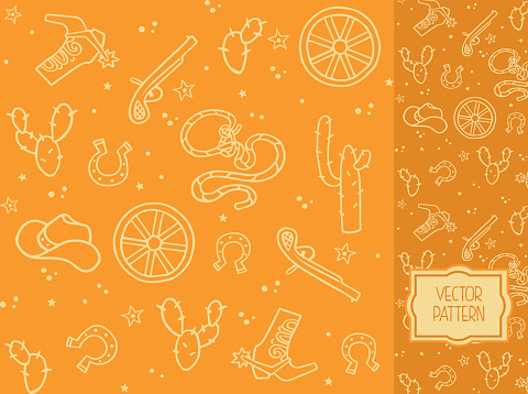 Decorative pattern with items of cowboy clothes and elements of the Wild West