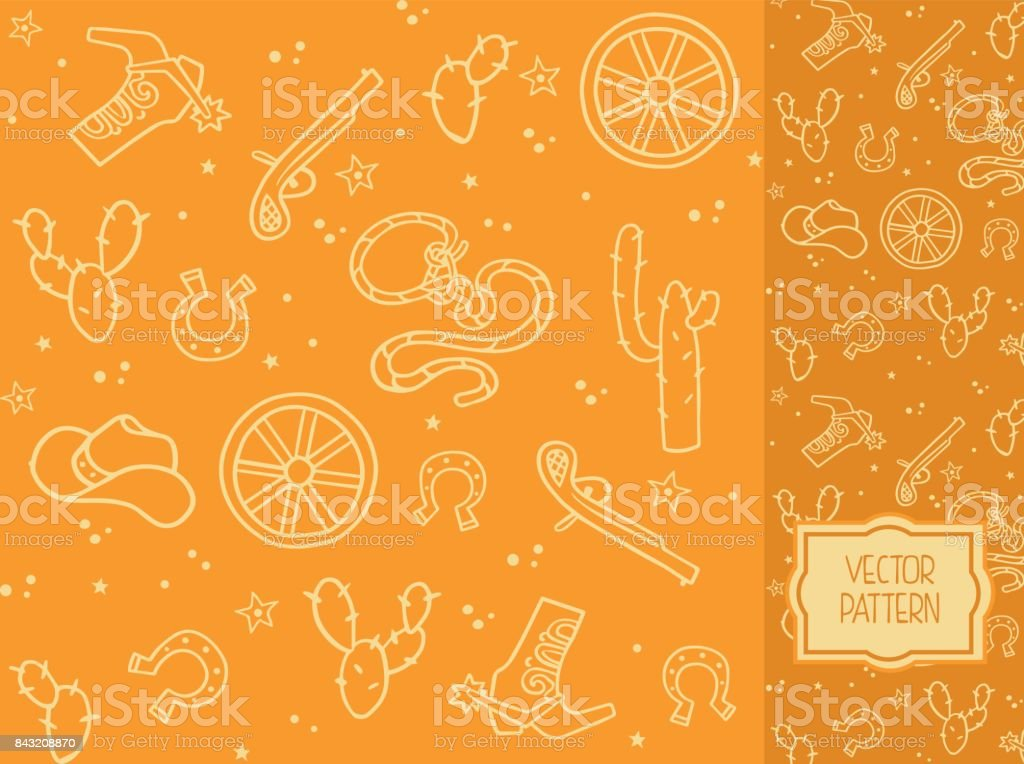 Decorative pattern with items of cowboy clothes and elements of the Wild West vector art illustration
