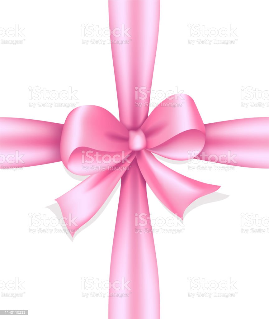 Decorative pink bow, Gift box with ribbon bow, Vector illustration...