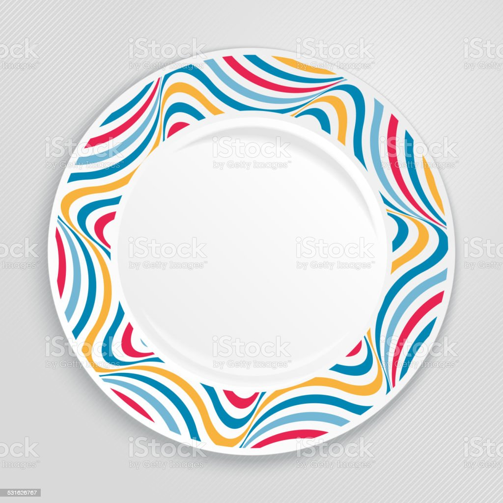 Decorative plate, top view. vector art illustration