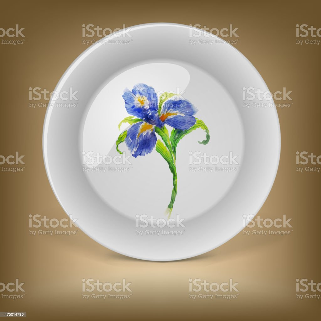 Decorative plate with blue watercolor iris flower stock vector art decorative plate with blue watercolor iris flower royalty free decorative plate with blue watercolor iris izmirmasajfo
