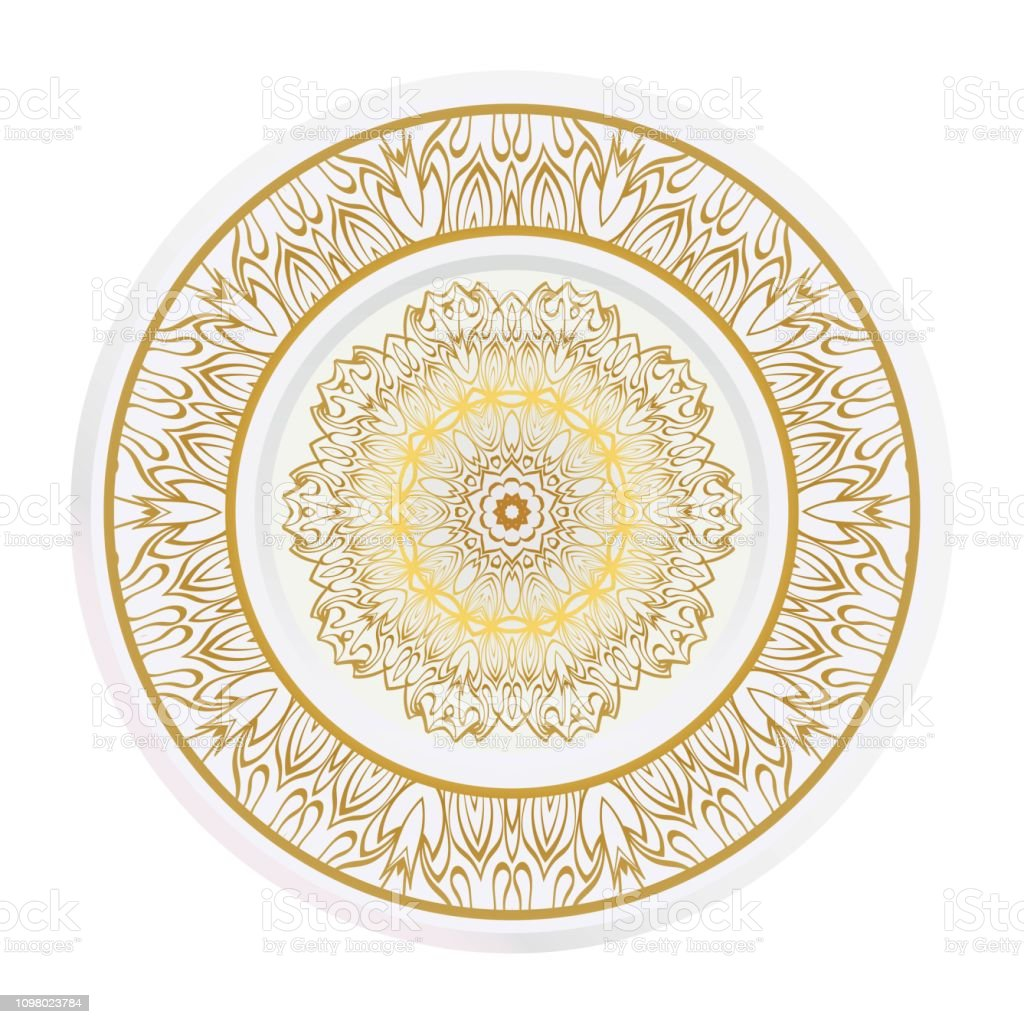 Decorative Plates With Mandala Ornament Patterns Home Decor