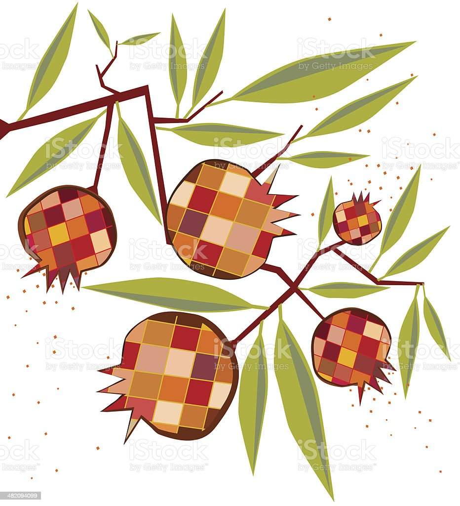 Decorative Pomegranates and Leaves royalty-free stock vector art
