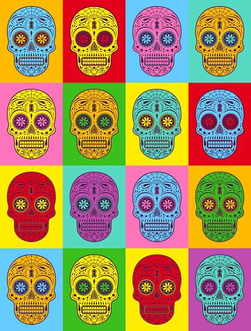 Decorative Pop art sugar skulls