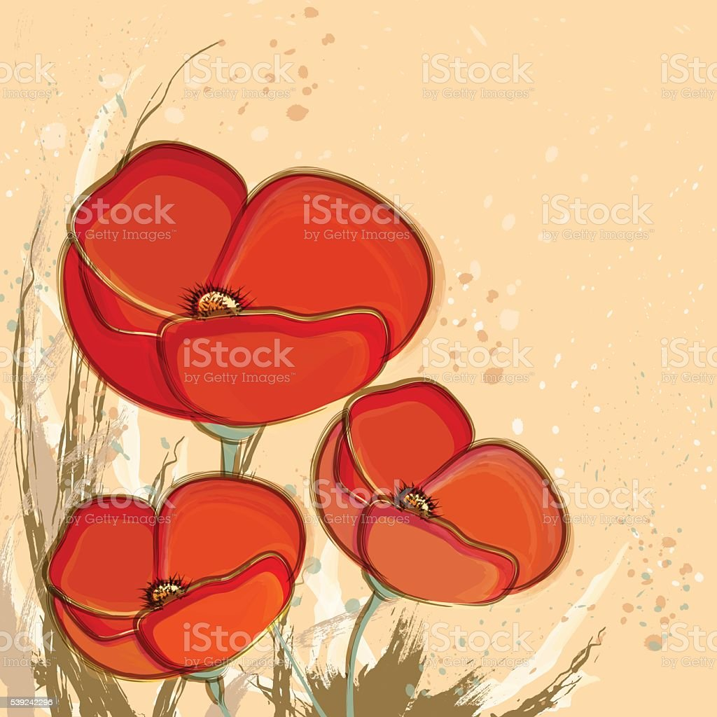 Decorative Poppy flowers on light yellow background royalty-free decorative poppy flowers on light yellow background stock vector art & more images of backgrounds