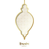 Decorative Ramadan golden lantern. Paper art style.Vector illustration.