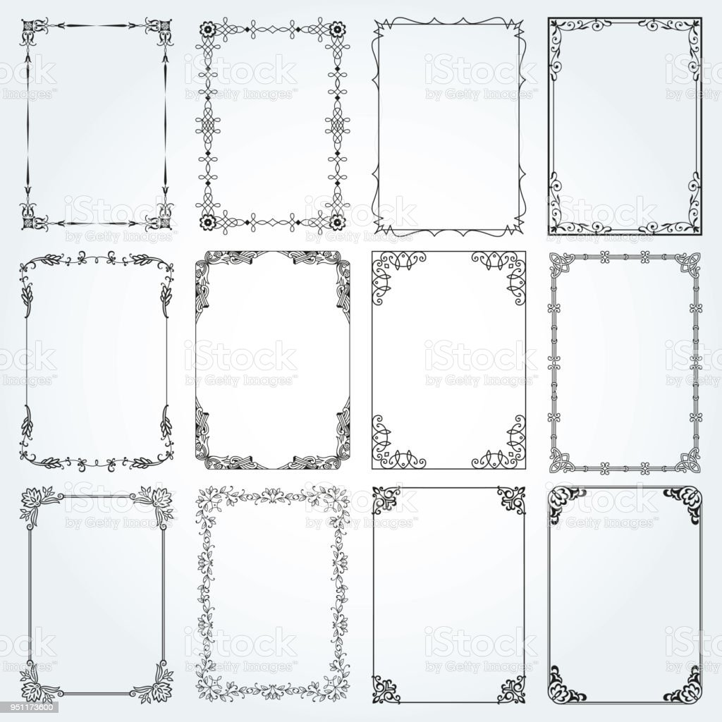 Decorative rectangle frames and borders set 4 vector royalty-free decorative rectangle frames and borders set 4 vector stock illustration - download image now