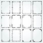 Decorative rectangle frames and borders set 4 vector