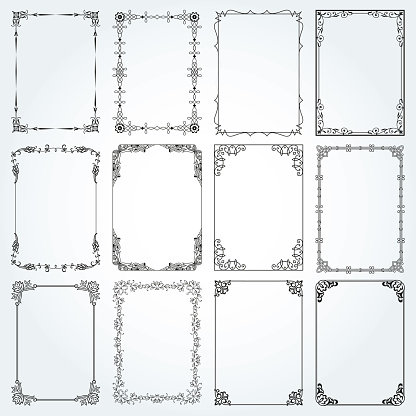 Decorative Rectangle Frames And Borders Set 4 Vector Stock Illustration - Download Image Now