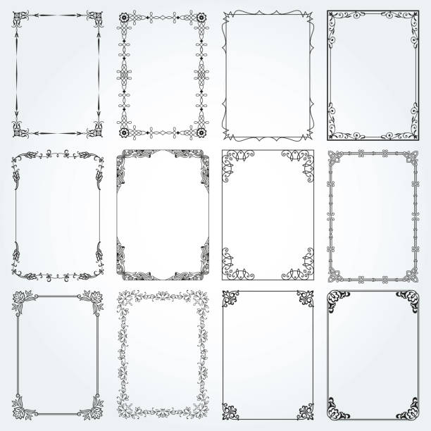 裝飾矩形框架和邊框設置4向量 - 掐絲 幅插畫檔、美工圖案、卡通及圖標