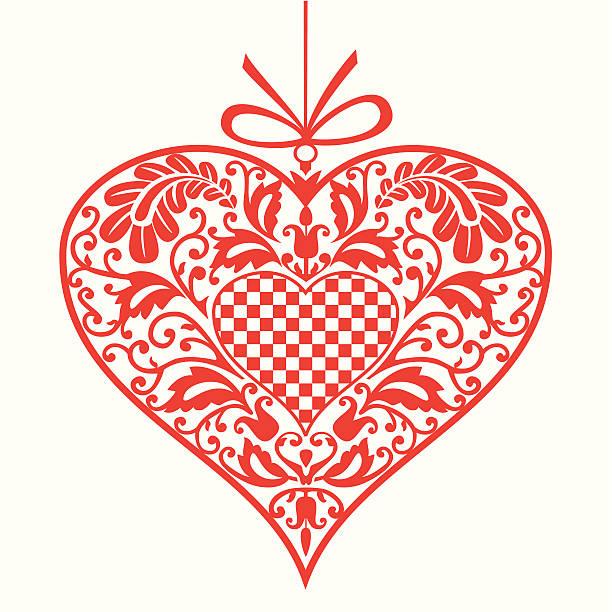 Dekorative Rote Herzen – Vektorgrafik
