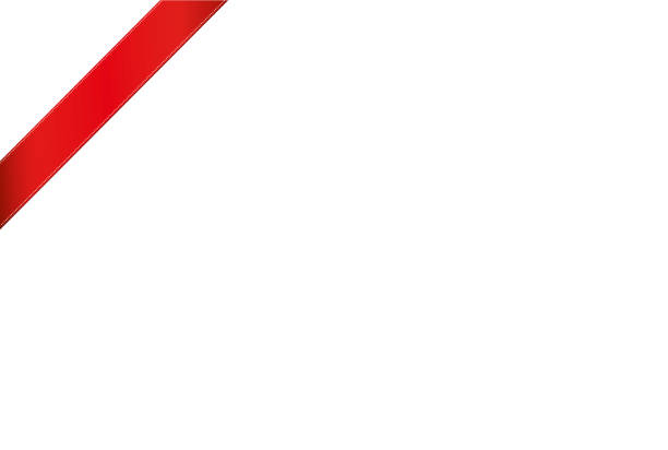 Decorative red ribbons banner in the corner diagonally. With copy space isolated on white. Vector. For a holiday or a party Decorative red ribbons banner in the corner diagonally. With copy space isolated on white. Vector. For a holiday or a party. party conference stock illustrations