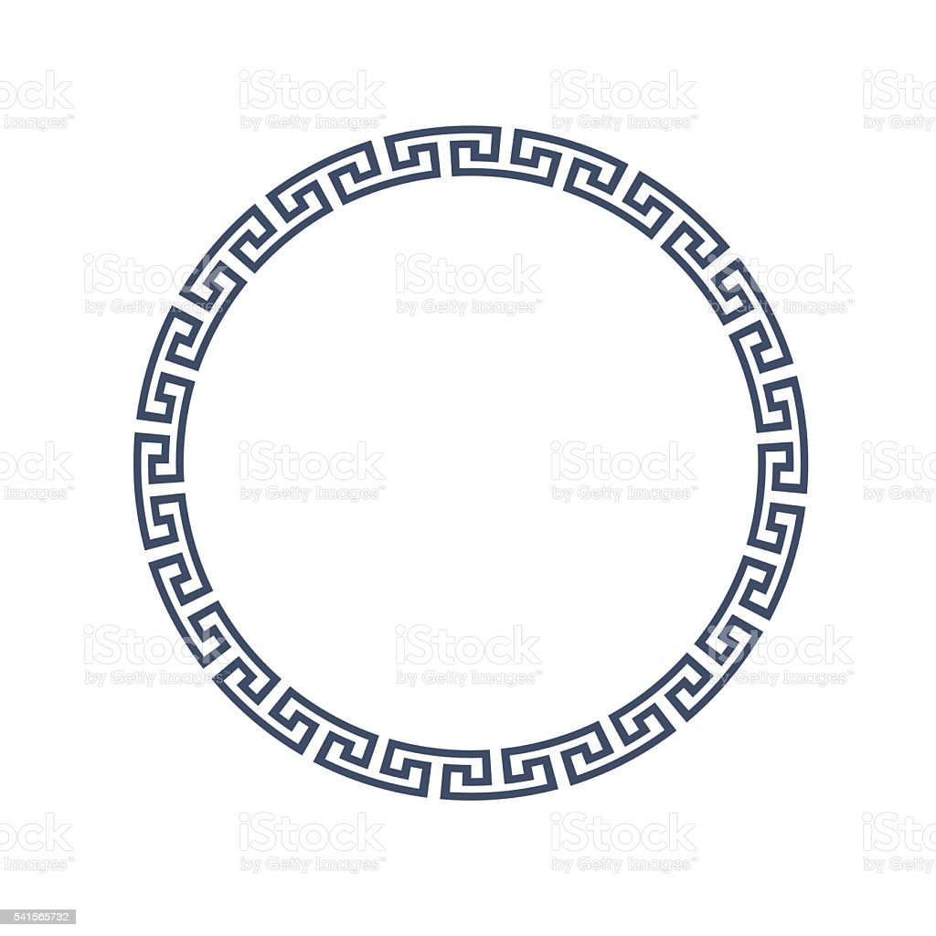 Decorative round frame for design in Greek style vector art illustration