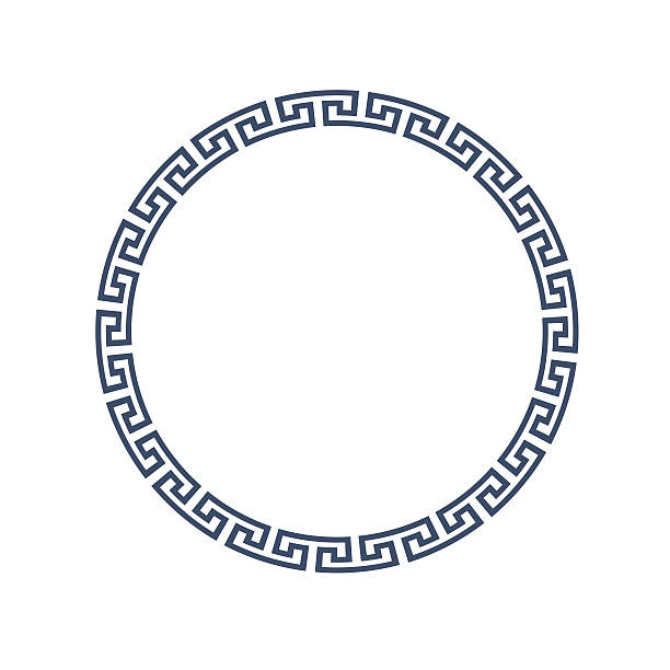Decorative round frame for design in Greek style Vector EPS10 classical greek stock illustrations