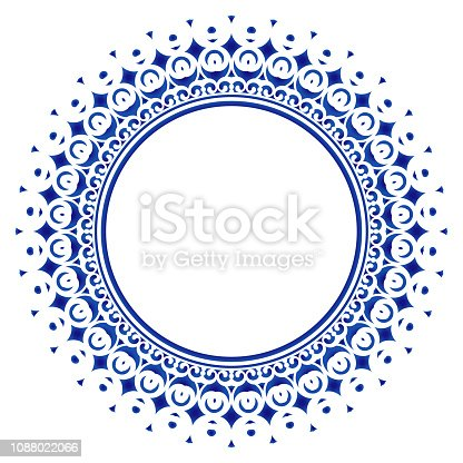 decorative royal round frame, blue ornamental border Indian and Arabic style, abstract floral cycle ornament design, vector illustration
